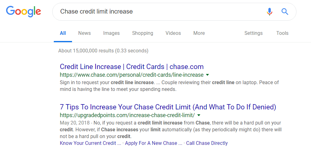 chase credit limit increase