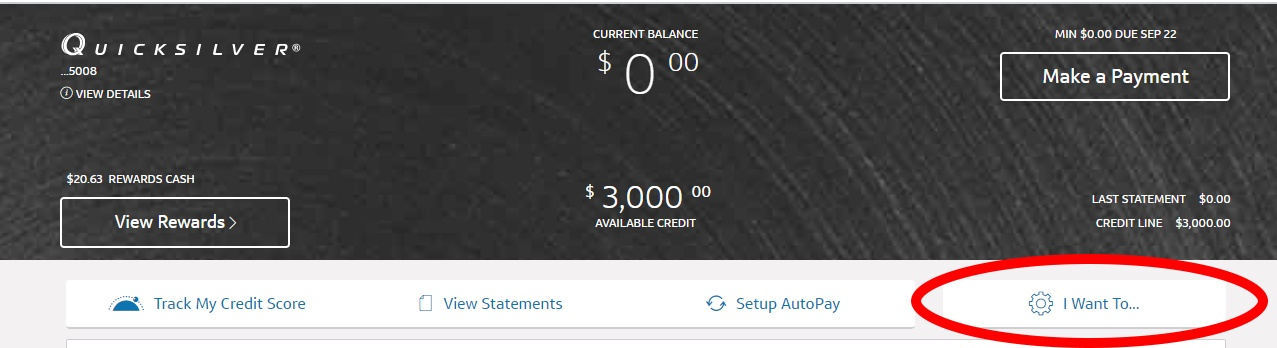 Capital One Increase Step 1